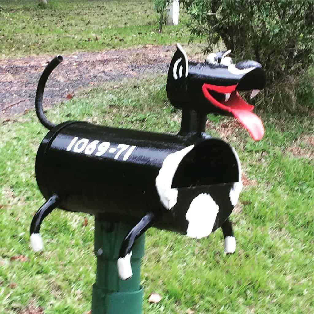 Happy little daschund dog letterbox
