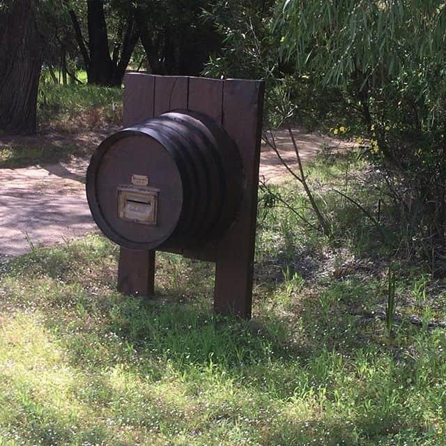 Wine barrel letterbox